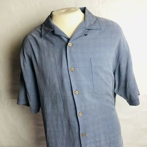 Tommy Bahama Mens Blue Short Sleeve Silk Shirt